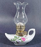 Click here to enlarge image and see more about item B830: Moss Rose Pattern Miniature Oil Lamp ~ Fluted Chimney