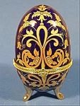 Click here to enlarge image and see more about item B849: Footed Porcelain EggTrinket Box - Stunning Gold