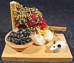 Miniature Grouping with Mouse and Fruit on Wood Base