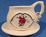 Click here to enlarge image and see more about item B878: Cup and Saucer Set with Rose Pattern - Miniature
