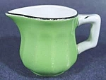 Click here to enlarge image and see more about item B884: Individual Creamer - Green with Black Trim