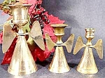 Click here to enlarge image and see more about item B896: Angel Candle Holder Trio - Brass - Enesco