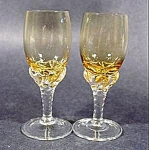 Crystal Stemmed Cordial Wine Glasses - Set of 2