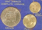 Click here to enlarge image and see more about item B909s: Jamaica Mint Coin Set - 1966 - Uncirculated