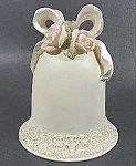 Click here to enlarge image and see more about item B914: Porcelain Bell with Applied Roses and Bow