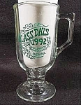 Click here to enlarge image and see more about item B928: Glass Pedestal Mug - 1992 Dunkirk, Indiana