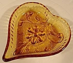 Amber Heart Sandwich Pattern Ashtray ~ Indiana Glass