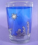 Click here to enlarge image and see more about item C125: Christmas Scene Votive Glass - Cobalt Blue
