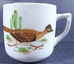 Click here to enlarge image and see more about item C169: Roadrunner Porcelain Miniature Cup - Vintage