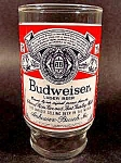Click here to enlarge image and see more about item C181: Budweiser Beer Glass ~ Red, White and Blue