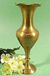 Click here to enlarge image and see more about item C259: Miniature Brass Vase ~ Hand Engraved ~ India