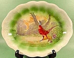 Click here to enlarge image and see more about item C286: Antique Platter - Pheasant in Woodland