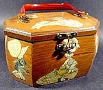 Click here to enlarge image and see more about item C288: Holly Hobbie Handmade Wooden Handbag Purse - Vintage