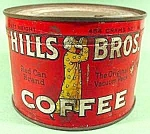 Click here to enlarge image and see more about item C292: Hills Bros. Coffee Tin - 1 Pound Size
