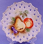 Click here to enlarge image and see more about item C323: Fruit Plate with Reticulated Border ~ Signed K.F.