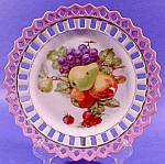 Click here to enlarge image and see more about item C324: Fruit Plate with Reticulated Pink Border ~ Gold Trim