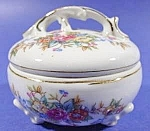 Click here to enlarge image and see more about item C335: Bone China Jewelry Trinket Vanity Box - 3 Footed