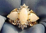 White Opal & Diamond Ring - 10K Y.G. - Size 7