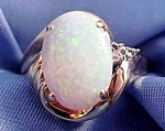 Click to view larger image of 10K Y.G. White Opal and Diamond Ring - Size 7 (Image1)