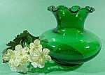 Click here to enlarge image and see more about item C363: Forest Green Glass Vase - Anchor Hocking - Miniature