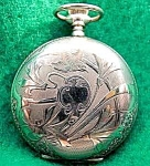 Click here to enlarge image and see more about item C37: Ladies 14K Gold Victorian Pocket Watch - Birds & Floral