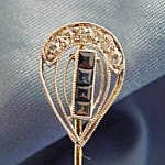 Click here to enlarge image and see more about item C384: 14K Gold Antique Sapphire and Diamond Stick Pin