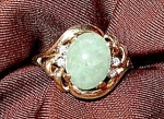 Click to view larger image of 14K Y.G. Jade and Diamond Ring - Size 7 (Image1)