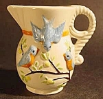 Click here to enlarge image and see more about item C396: Ceramic Pitcher with Blue Birds ~ Miniature Handpainted
