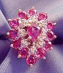Diamond & Pink Tourmaline Ring - 14K  Y.G. - Size 8