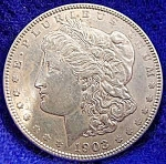 Click to view larger image of Morgan Type Silver Dollar Coin 1903 (Image1)