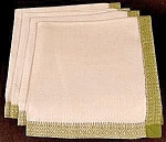 Click here to enlarge image and see more about item C526: White Linen Napkin Set of 4  ~ Green Border
