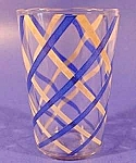 Swanky Swig Glass - Blue & White Lattice Pattern