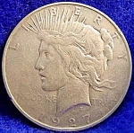 Click here to enlarge image and see more about item C555s: Peace Dollar Silver Coin - 1927-D