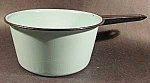 Click here to enlarge image and see more about item C57: Aqua Saucepan with Black Trim - Graniteware - Vintage