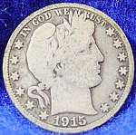 Click here to enlarge image and see more about item C597s: Barber Liberty Head Half Dollar Coin - 1915 S