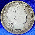 Click here to enlarge image and see more about item C598s: Barber Liberty Head Half Dollar Coin - 1901 S
