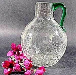 Click here to enlarge image and see more about item C607: Vintage Crackle Glass Vase Jug - Applied Handle