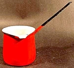 Click here to enlarge image and see more about item C61: Butter Melter - Red Graniteware - Hong Kong