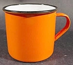 Click here to enlarge image and see more about item C62: Orange Graniteware Coffee Mug - Vintage