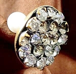 Click here to enlarge image and see more about item C643: Pair Hatpins ~ 1 Rhinestone 1 White Glass