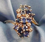 Blue Sapphire & Diamond Waterfall Ring -10K Y.G.- Sz. 6