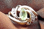 Peridot & Diamond Ladies Ring - 10K Y.G. - Size 6