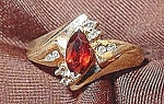 Click to view larger image of Garnet & Diamond Ladies Ring - 14K Y.G. - Size 6.5 (Image1)