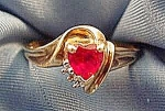Heart Shape Ruby & Diamond Ring - 10K Y.G. - Size 7
