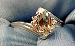 10K White Gold Mystic Topaz Ring - Size 7.5