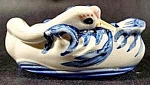 Click here to enlarge image and see more about item C670: Blue & White Swan Ashtray ~ Ceramic