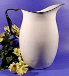Graniteware Water Pitcher - White with Blue Trim