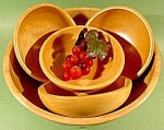 Click here to enlarge image and see more about item C694: Salad Bowl Set of 5 Pcs. ~ Occupied Japan ~ Wooden