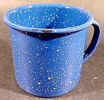 Click here to enlarge image and see more about item C69: Cobalt Graniteware Mug with White Flecks - Vintage