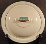 White Graniteware Lid with Turquoise Trim - 8-7/8 inch